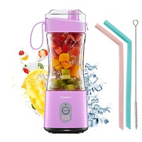 Portable Personal Blender for Smoothie and Shakes - Vaeqozva 3D 6 Blades 4000mAh USB Rechargeable Handhold Juicer Cup with Drinking Spout and Straws-Chic Pink Chic Pink