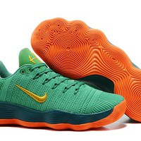 Nike Mens Hyperdunk Low 2017 TB Green/Orange Basketball Shoes