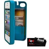 Turquoise Case for iPhone 4/4S with built-in storage space for credit cards/ID/money by EYN (Everything You Need) + Micro Fiber Cleaning Cloth