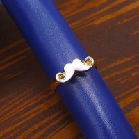 A tiny gold plated mustache mult-task ring, above knuckle ring,adjustable finger ring,stackable ring, toe ring, little finger ring