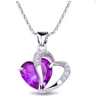 Topstaronline (TM) Rhodium Plated Silver Accent Amethyst Heart Shaped Pendant Necklace