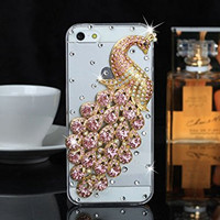 """iPhone 6 Plus Case, MC Fashion Peacock Crystal Rhinestone 3D Diamante Hard Shell Phone Case Compatible for Apple iPhone 6 Plus 5.5"""" (2014) ONLY (Pink)"""
