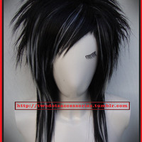 Sale, Black & White EMO Punk Rock Wig. Straight or Curl Long Layered and Heat Resistant, Styleable.