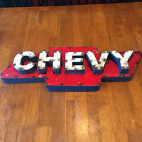 Chevy Recycled Metal 3D Sign 24x8x3