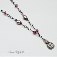 Vintage Style Rhinestone Pendant Necklace with Purple Bead Accents, Vintage Inspired Short Necklace