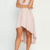 Pink Spaghetti Strap Draped V-neck Backless High-Low Draped Backless Homecoming Party midi Dress