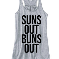 Suns Out Buns Out Racerback | Beach Tops | Summer Racerbacks Crop Tops and More | Beach Tank Tops and more