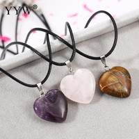 New Women Jewelry Black Short Leather Cord Love Heart Natural Quartz Tiger Eye Rose Purple Crystal Stone Charm Pendant Necklaces