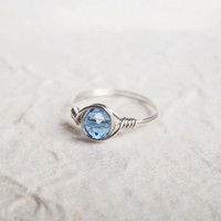 Crystal Light Sapphire ring - unique ring - bohemian jewelry - birthstone jewelry - september