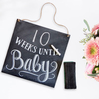 Weeks Until Baby - Chalkboard Sign