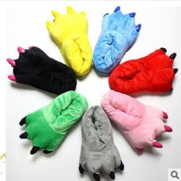 New Lovely Warm Cotton Slippers Winter Super Soft Coral Velvet Paw Plush Slippers Dinosaur Cute Indoor Shoes = 1929726404