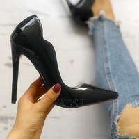 Fashion single shoes shallow mouth high slender heel pointed hood mouth ladies high heels butterfly edge black shoes
