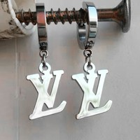LV fashion casual lady metal letter earrings