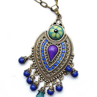 Colorful Flower Pendant Boho Necklace Dangle Beads Hippie Indian Jewelry FREE SHIPPING