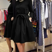 Black A-Line Tie-Waist Flare Dress