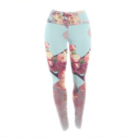 """Sylvia Cook """"Waiting for Spring"""" Pink Blue Yoga Leggings"""