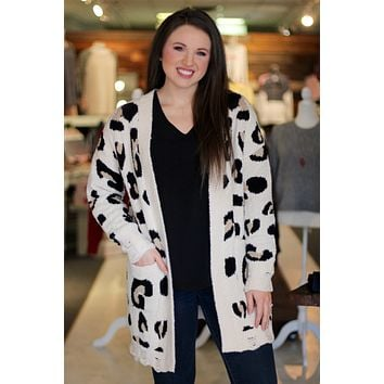 Edgy Leopard Distressed Hem Cardigan
