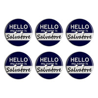 Salvatore Hello My Name Is Plastic Resin Button Set of 6