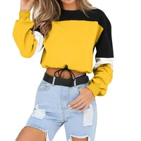 Autumn 2018 Harajuku Sweatshirt Hoodies Women Streetwear Color Block Kpop Crop Top Hoodie Korean Style Woman Clothes Moletom