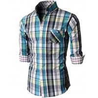 Doublju Men's Casual Button Down Shirts Of Plaid Check Patterned (KMTSTL0204)