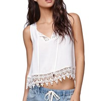 LA Hearts Crochet Trim Hem Tank - Womens Shirts