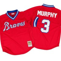 ONETOW Mitchell & Ness Dale Murphy 1980 Authentic Mesh BP Jersey Atlanta Braves In Scarlet