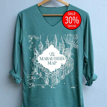 The Marauder's Map Shirt Harry Potter Map Shirts V-Neck Green Unisex Adult Size S M L