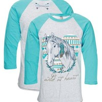 Southern Couture Lightheart Wild at Heart Aztec Horse Girlie Raglan Long Sleeve Bright T Shirt