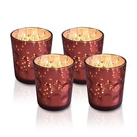 4 Pack   Vintage Mercury Glass Candle Holders (3-Inch, Tess Design, Rustic Copper Red) - for use with Tea Lights - for Home Décor, Parties and Wedding Decorations