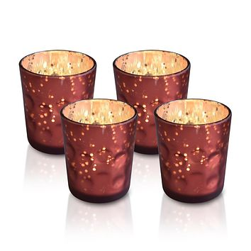 4 Pack | Vintage Mercury Glass Candle Holders (3-Inch, Tess Design, Rustic Copper Red) - for use with Tea Lights - for Home Décor, Parties and Wedding Decorations
