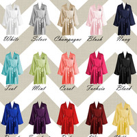 Satin Robes - Monogrammed Robe or Blank Robe - Choose from 15 Colors