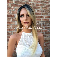 """Rocky Bleached Blonde Rooted Human Hair Blend Deep Lace Wig 14"""""""
