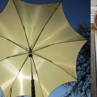 60s Cream Nylon Umbrella w/ Faux Wooden Handle // Vintage Parasol Made in Hong Kong
