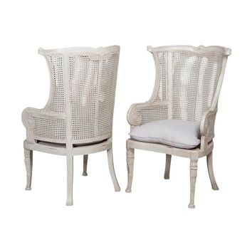 Caned Wing Back Chair Gray (Set of 2)