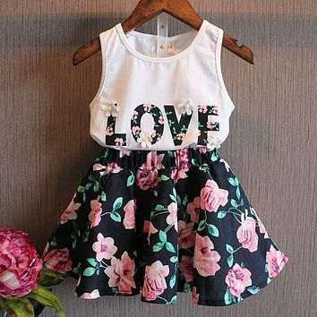 Girls Clothes Skirts Flower Outfits 2pcs Children Toddler Kids Baby T Shirt Tops Vest + Floral Skirt Love Letter Clothes 2pcs