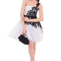 Moonar Chiffon One Shoulder Ball Gown Prom Formal Gown Party Bridesmaid Wedding Dress