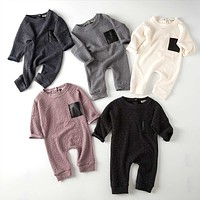 Fall Autumn Embossed Long Sleeve Baby Jumpsuits born Boys Girls Leather Pocket Romper Kids Infant Clothing