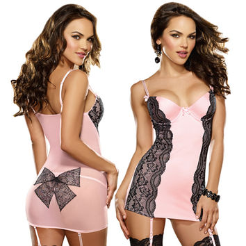 Dreamgirl Lingerie Pretty Baby Garter Chemise with Black Lace Overlay in Baby Pink