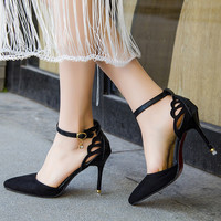 Women Shoes Ankle Strap Pumps butterfly Cut-Outs Woman Dress Shoes Pointed Toe