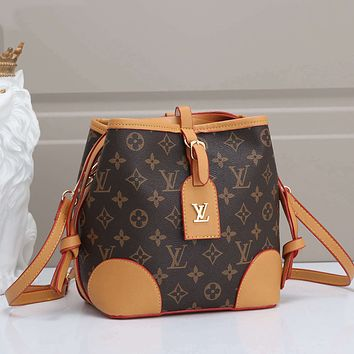 LV Louis Vuitton New Coffee Printed Letters Drawstring Bucket Bag Shoulder Bag Messenger Bag