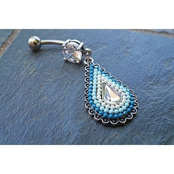 Blue Ombre Boho Beaded Belly Button Ring