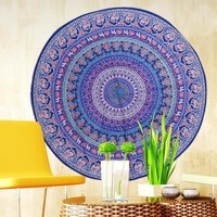 """Bohemian Round Hippie Purples Tapestry/Throw/Table Cloth/Window Covering/Yoga Mat etc..... Round 150cm/59.0"""""""