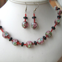 Black Onyx and Lampwork flower glass beaded necklace set
