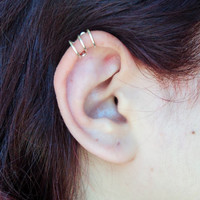 Helix three rings ear cuff/ wire wraped cartilage fake piercing gold or silver/ clip on
