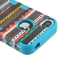 MagicSky Plastic + Silicone Tuff Dual Layer Hybrid Tribal Pink Case for Apple iPhone 4 4S 4G - 1 Pack - Retail Packaging - Blue