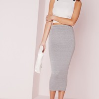 Missguided - Longline Jersey Midi Skirt Grey