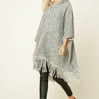 Marled Knit Hooded Poncho