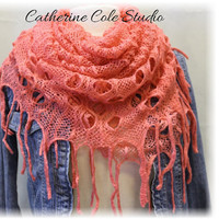 FABULOUS FRINGE in Watermelon Kiss, The latest trend in womens scarves, A must have knit fringe scarf for Fall by Catherine Cole Studio SC20