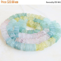 Super SALE Aquamarine Gemstone Heishi Shaded Blue Green Faceted 5.5 to 6mm 80 beads 1/2 strand