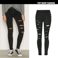 Ripped Holes Denim Hot Sale Slim Stretch Plus Size Cropped Pants [10734938191]
